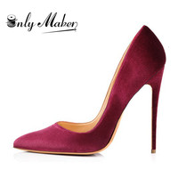 Women Shoes Stilettos Pointed Toe Thin High Heel Velvet 12CM pumps female shoes Plus Big Size 15 Wedding and party Pumps for