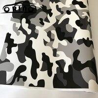 Black/White Camo Vinyl Film Snow Camouflage Vinyl Car Wrap Air Bubble Free Snow Camo Wraps 1.52X5/10/15/20/25/30 meters