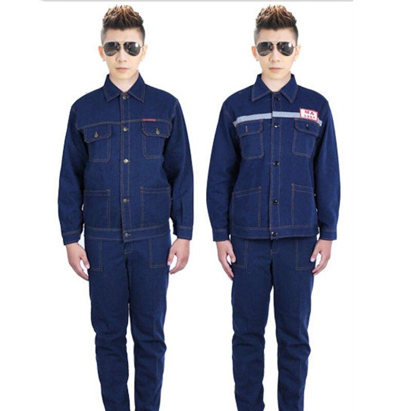 bilder für CCGK Arbeitskleidung Anzüge Männer Arbeitskleidung Sets Denim Jacken + Hosen Fabrik Motorrad Auto Reparaturschweißen Reflektierende Streifen Uniformen