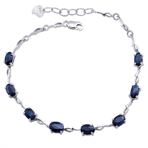 2017 New Qi Xuan_Free Mail Dark Blue Stone Elegant Bracelets_S925 Solid Silver Fashion Bracelets_Manufacturer Directly Sales nokia 230 dark silver