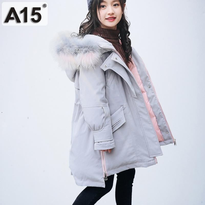 125f92ea21eb Girl Winter Coat Parka Long Down Puffer Hooded Fur Collar Children Winter  Jacket Kids Thick Warm Clothes Teenage Girls Clothing