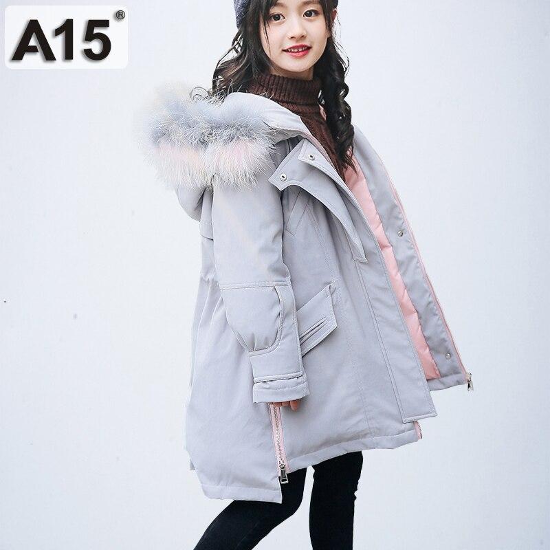 d39bf9b87503 Girl Winter Coat Parka Long Down Puffer Hooded Fur Collar Children ...