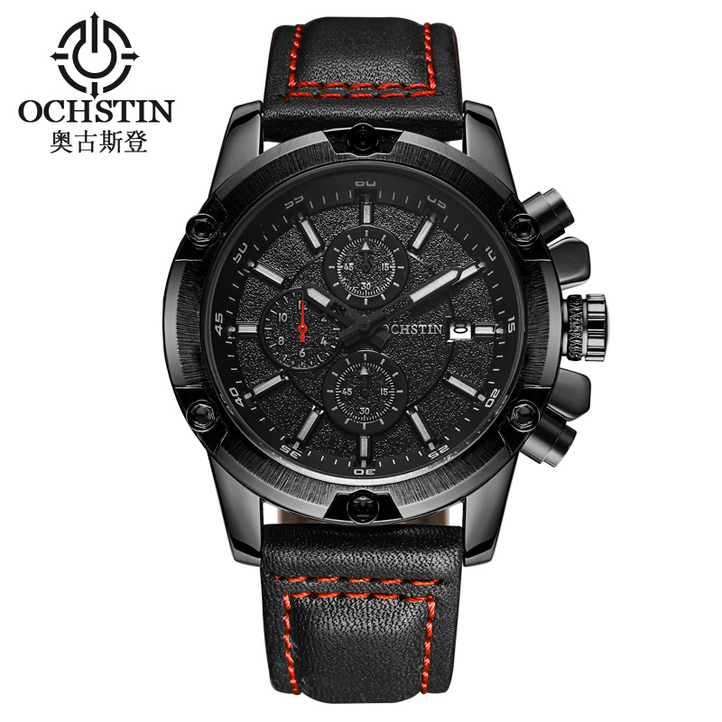 OCHSTIN Men Business Watch Clock Mens Chronograph Watches Military Leather Quartz Date Wristwatches Relogio Masculino 075B