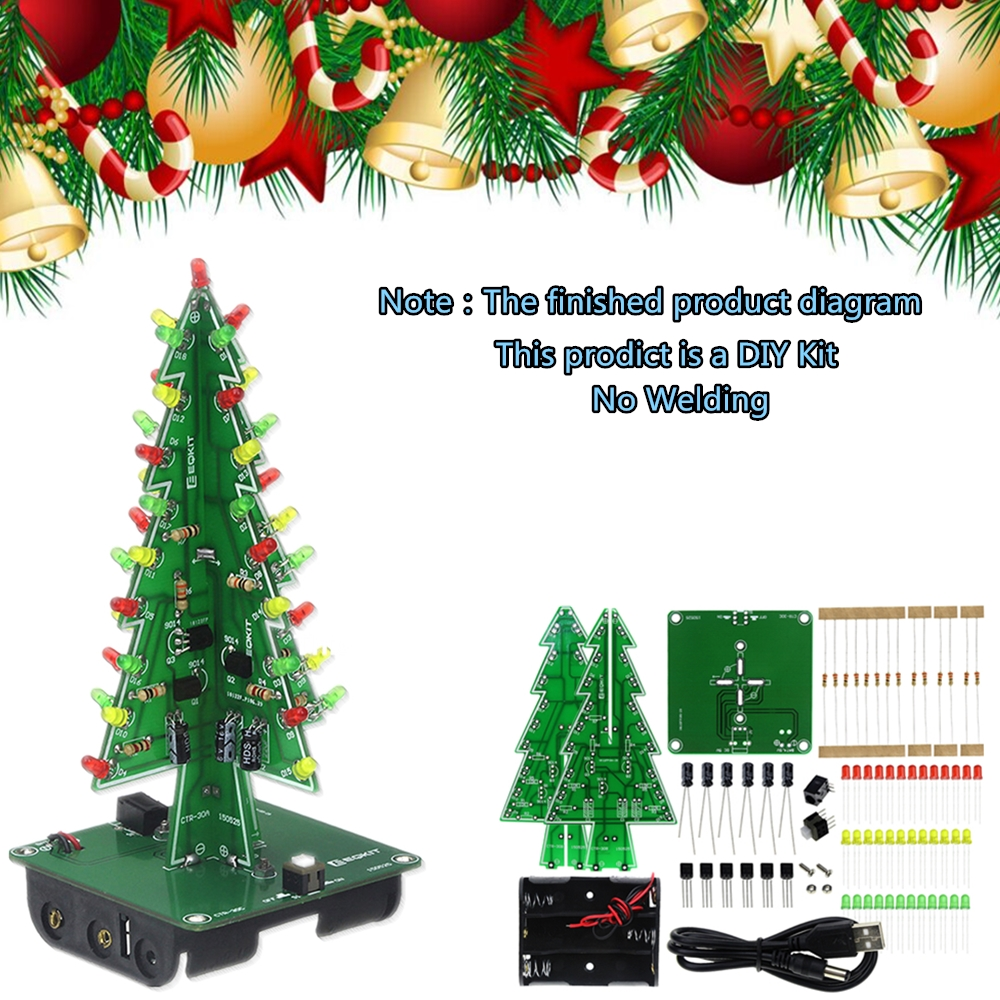 Three-Dimensional 3D Christmas Tree LED DIY Kit Red/Green/Yellow LED Flash Circuit Kit  For School Education Lab