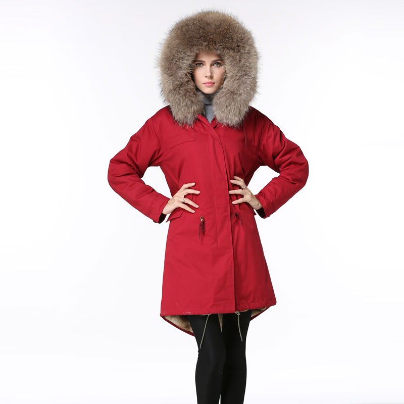 Long Red Parka Fashion Winter Wear,Natural Raccoon Fur Hoodies ...