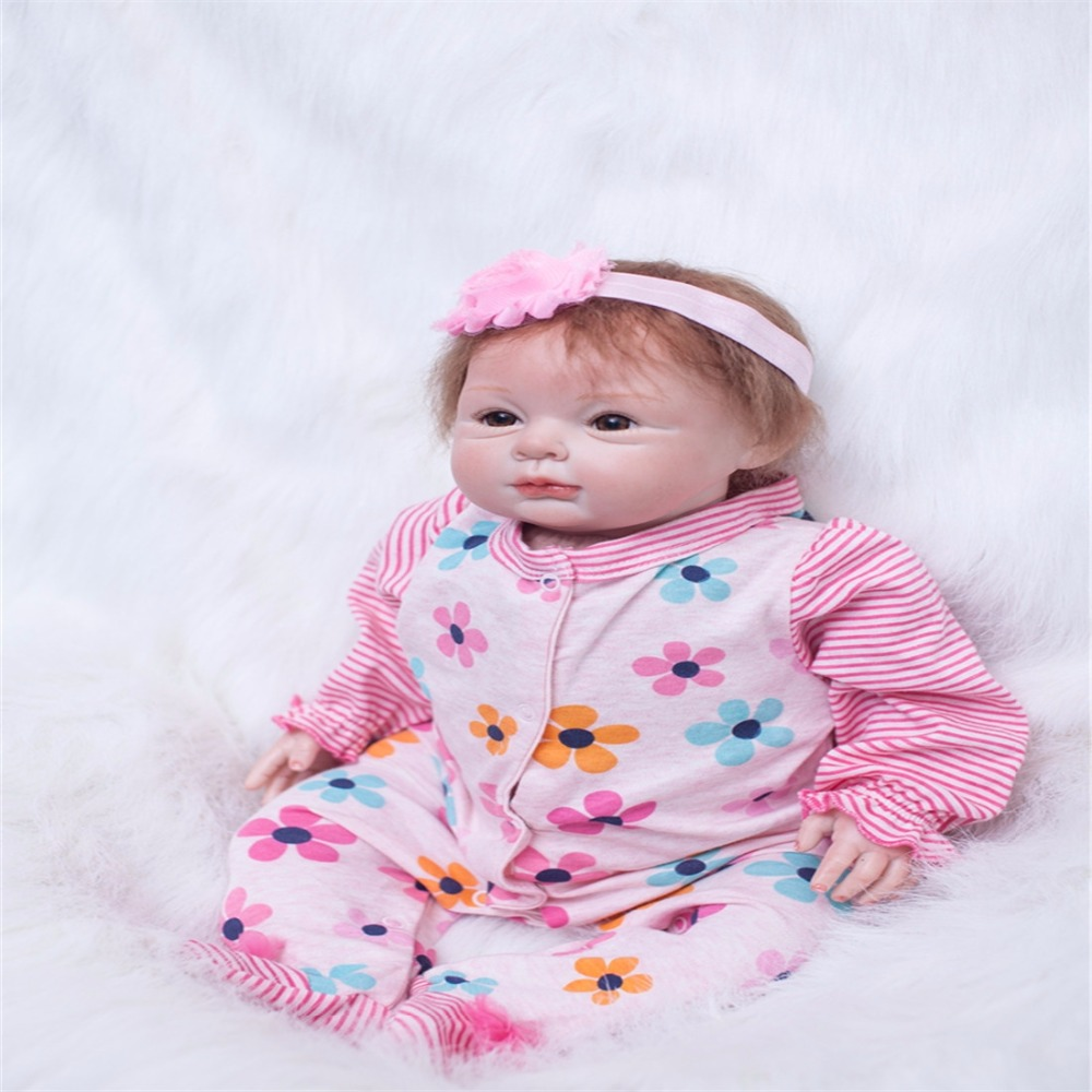цены 22 inch 55 cm Silicone baby reborn dolls, lifelike doll reborn Colorful flowers pink piece beautiful doll birthday gift