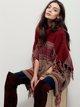 2016 Autumn and Winter Clothing Fashion Wind Loose Cloak Fringed Sweater Sweater Tops Es1070
