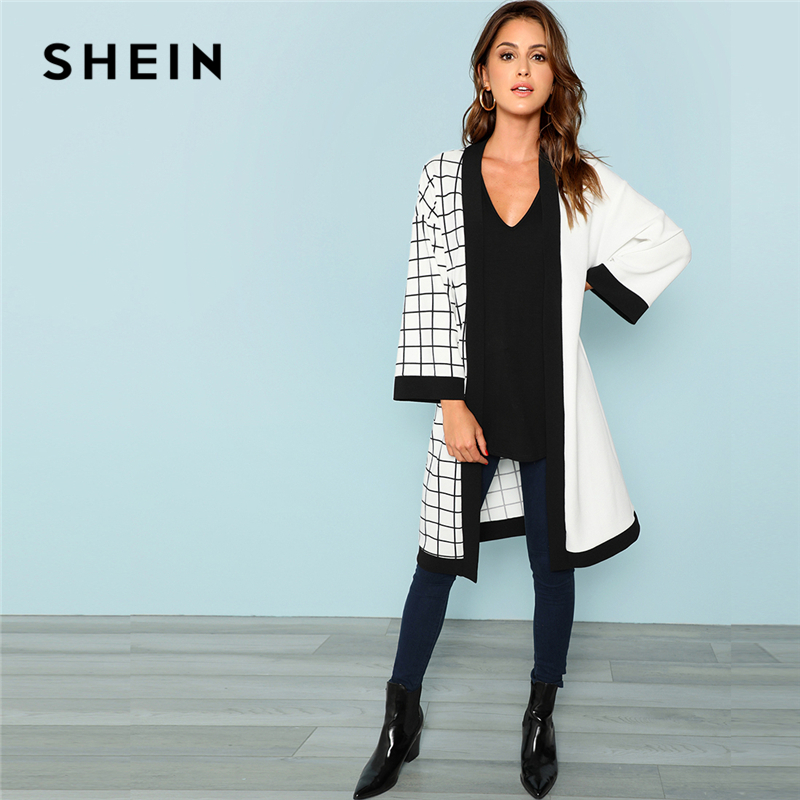 Shein Multicolor Highstreet Workplace Woman Reduce And Sew Grid Print Lengthy Sleeve Minimalist Coat 2018 Autumn Girls Outerwear Garments
