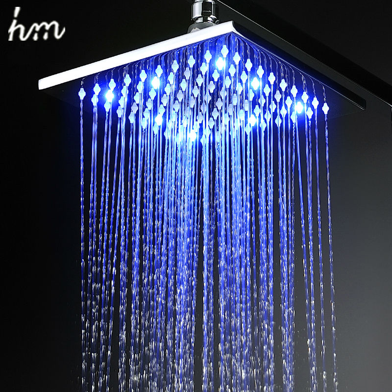 hm LED Shower Rain Shower Head Brass 8''10''12'' Power By Water Color Blue Green Red(Change By Temperature)Bathroom Led Shower 8 inch led shower head square showers with led brass chorm ducha led temperature sensor water light top shower with three color