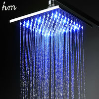 hm LED Shower Rain Shower Head Brass 8''10''12'' Power By Water Color Blue Green Red(Change By Temperature)Bathroom Led Shower