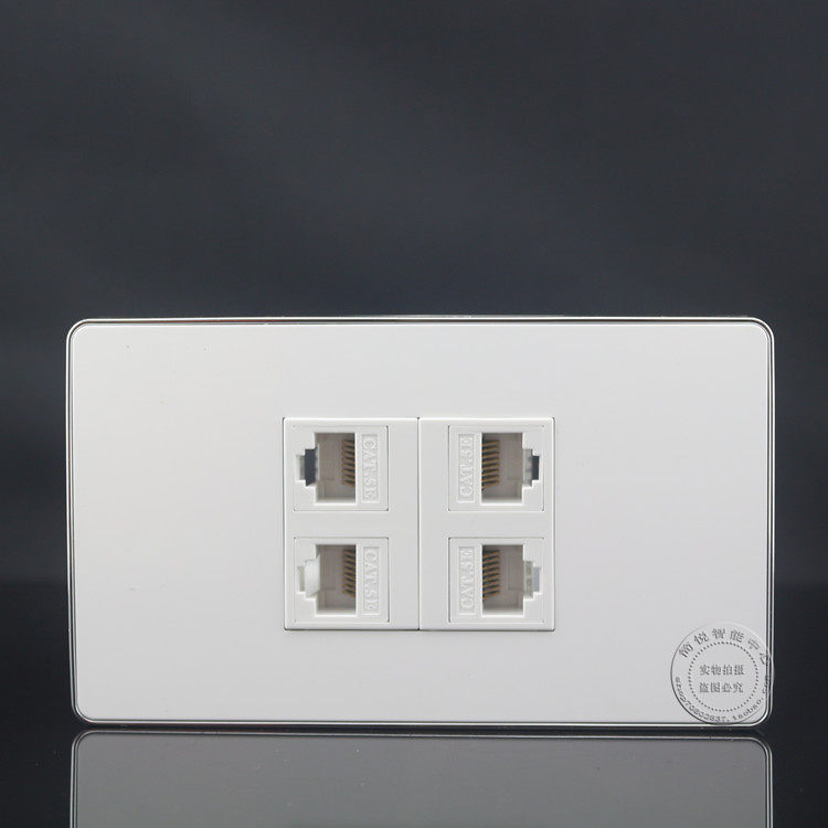 цена на 120MM Wall Plate 4 Ports Network Ethernet LAN Cat5e RJ45 Socket Panel Faceplate Home Plug Adapter