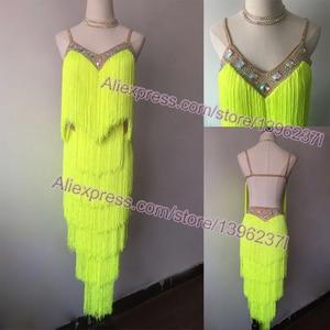 Image 1 - Latin Dance Dresses Women High Quality Customized Rumba Samba Dancing Skirt Lady Blue Tassel Latin Competition Dance Dress