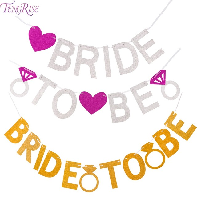 FENGRISE Bride To Be Silver Glitter Garland Wedding Banner Bridal Shower Bachelorette Party Photo Props