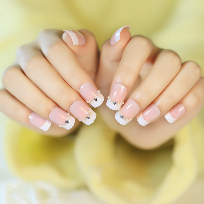 24pcs Acrylic White French Nail Tips Nature Color Pearl Rhombic ...
