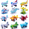 12pcs/lot Wooden Car Styling Educational Kids Toys Baby Boy's Toy Wheel Rotatable Cars Models Simulate Mini Automobiles 12pcs