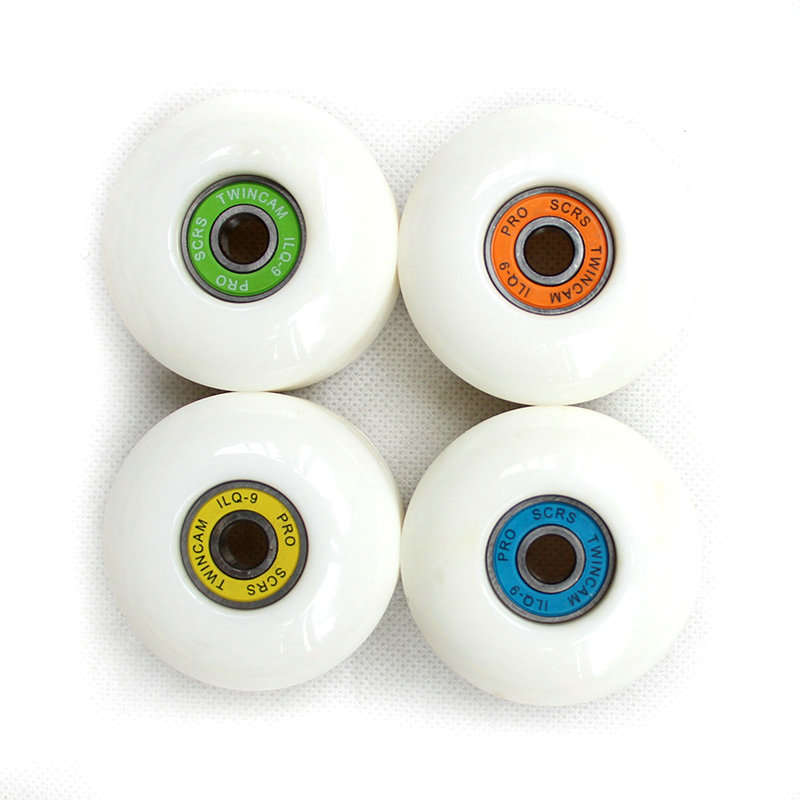 Free Shipping 52mm*30mm Skateboard Wheels ABEC-9 Bearings Set 4pcs Double Rocker PU Wheels White Skateboard Parts Black Wheels
