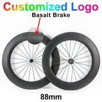 700C 23mm Width 88mm Carbon Fibre Bike Wheels Road Bicycle Cycling Racing 3k Ud Clincher Tubular