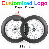 700C 23mm Width 88mm Carbon Fibre Bike Wheels Road Bicycle Cycling Racing 3k Ud Clincher Tubular