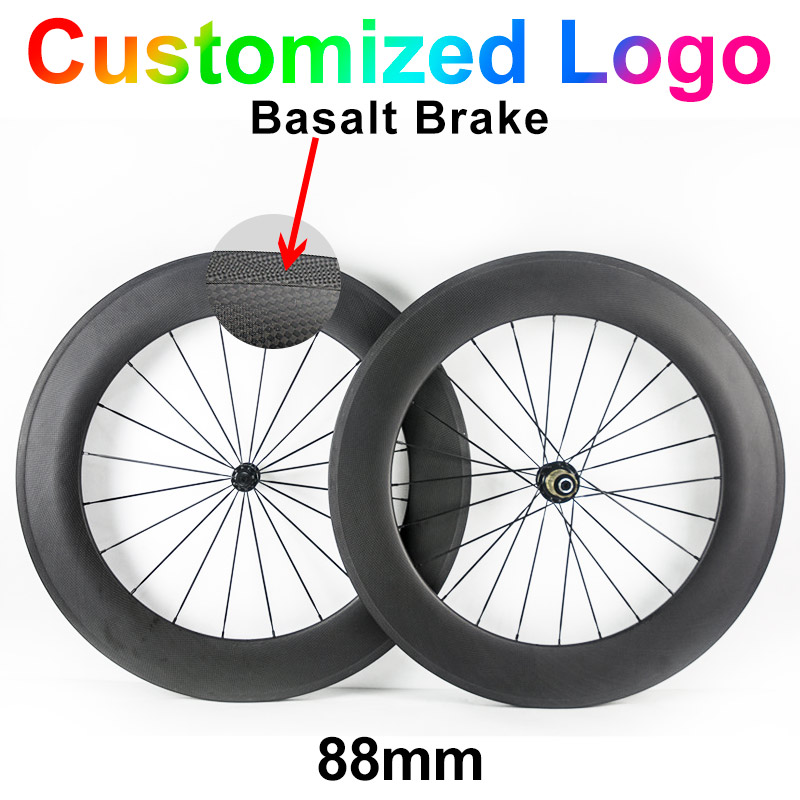 ! 700C 23mm width 88mm carbon fibre bike wheels Road bicycle cycling racing 3k ud clincher tubular wheelset 50mm 60mm 38mm carbon fixed bike gear bicycle fixie wheels 23mm wheelset 38mm front 88mm rear clincher hub accessory online popular sell to usa