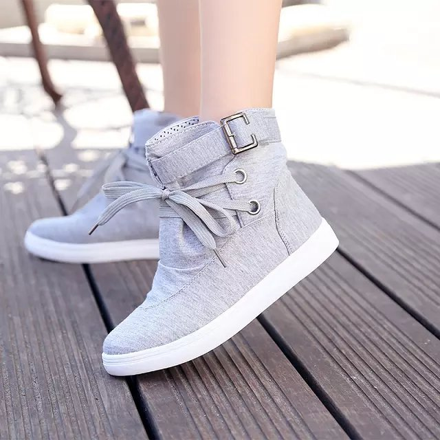 O098 Womens Girls Students Autumn Spring Lace-up Ankle Boots Fashion Canvas Shoes Casual Flats  Outerdoor Casual