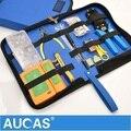 Aucas Cabo Ethernet de Alta Qualidade ferramenta RJ11 RJ45 Cat5 Cat6 Cabo De Rede alicate De Friso Crimper ferramenta set kit
