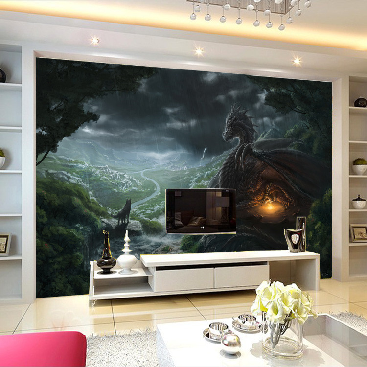 Aliexpress com   Buy Dragon and Wolf photo wallpaper Custom Large Wallpaper Wild style Mural Wall painting Art Room decor Bedroom Home decoration from