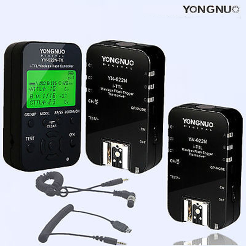 Yongnuo YN-622N-TX Wireless TTL Flash Controller Trigger 1 Transceivers & 2PC YN-622N receivers for Nikon D750 D800 D5100 N1 N3 yongnuo 1 x yn 622n tx 1 x rx yn 622n kit ttl lcd wireless flash trigger set for nk d800 d800e d800s d600 d610 d7200 d7100
