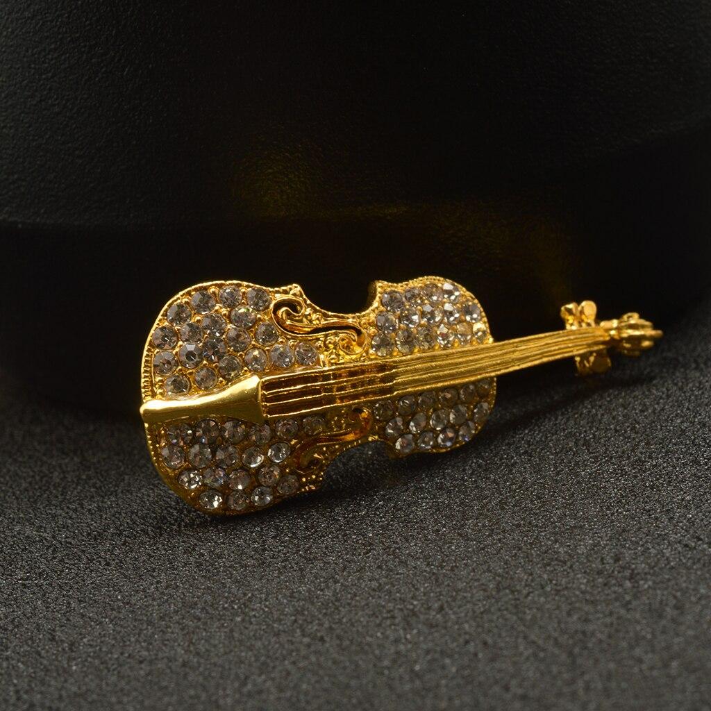 Women Men Retro Broschen Violine mit Kristallsteinen