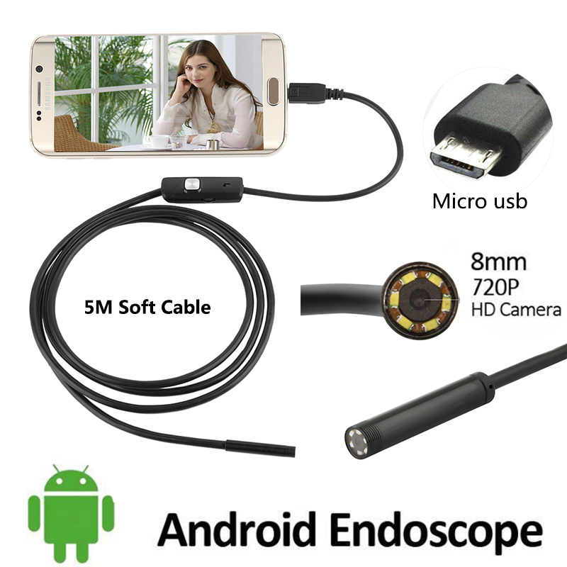 2016 New 2MP 5M 1M Android USB Endoscope Camera 8mm Lens Flexible USB Snake Camera HD 720P Android USB Borescope Camera