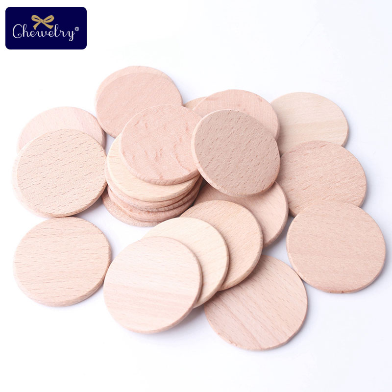 30pcs 37mm Unfinished Beech Wooden Coins Circles BPA Free Wood Teether DIY Baby Toys Unpainted Chew Slices Beads Baby Teething
