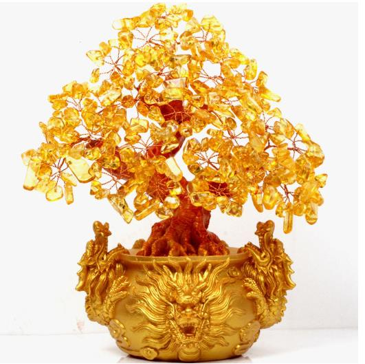 Stones And Crystals Citrine Quartz Crystal Gem Money Tree For Holiday Gift Money Wealth Bay