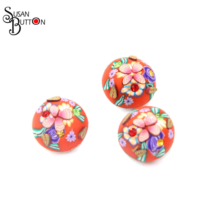 Red Orange Snap It Button & Crystal Rhinestone Flower Soft Ceramic Snap Button Jewelry For Fashion Bracelet SJSB332