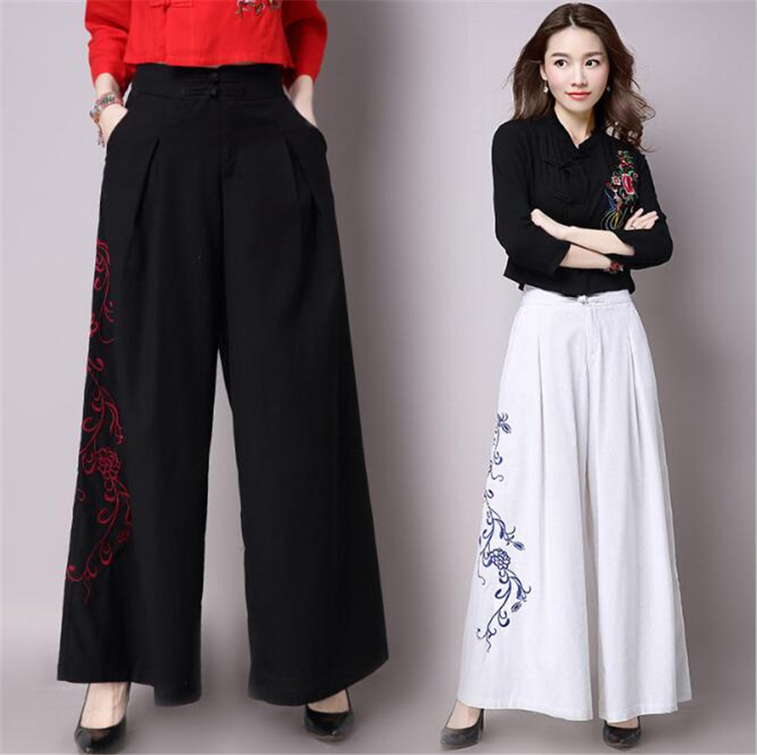 MLCRIYG Ancient cotton linen wide leg pants female new style of wild style pants