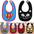 Cheap Baby High Quality Baby Products Superman Batman Spiderman I Love Mom Dad Infant Cotton Baby Girls Boys Bibs Burp Cloths