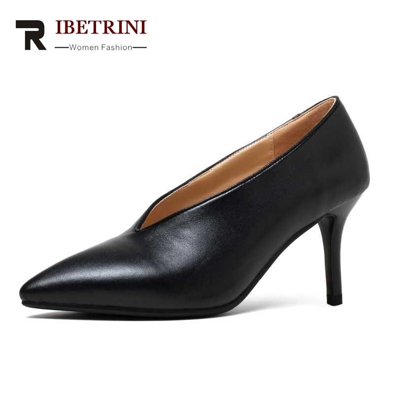 ФОТО RIBETRINI Size 33-40 Sexy Women Genuine Leather Pointed Toe Thin High Heel Shoes Party Wedding Dress Less Platform Pumps