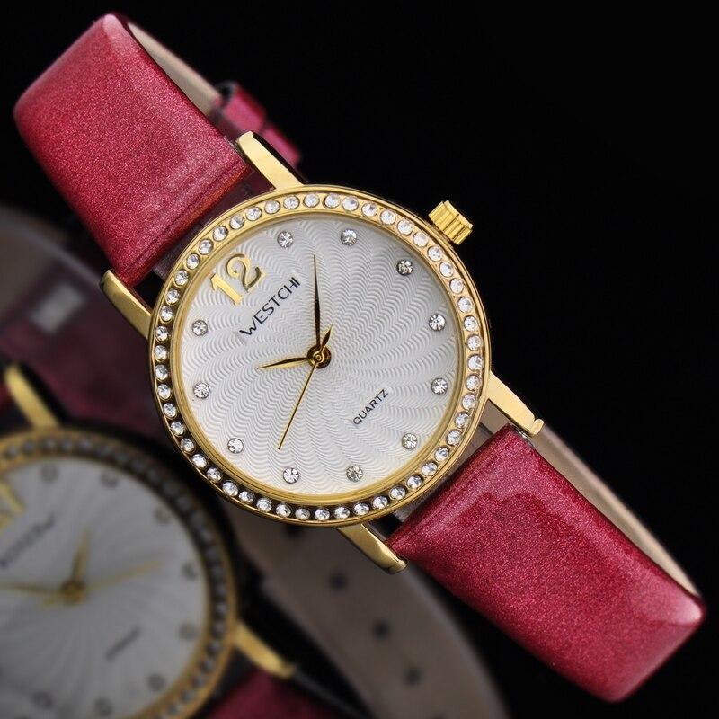 2016 new design women watch top brand WESTCHI watch waterproof 30m casual genuine leather strap diamond