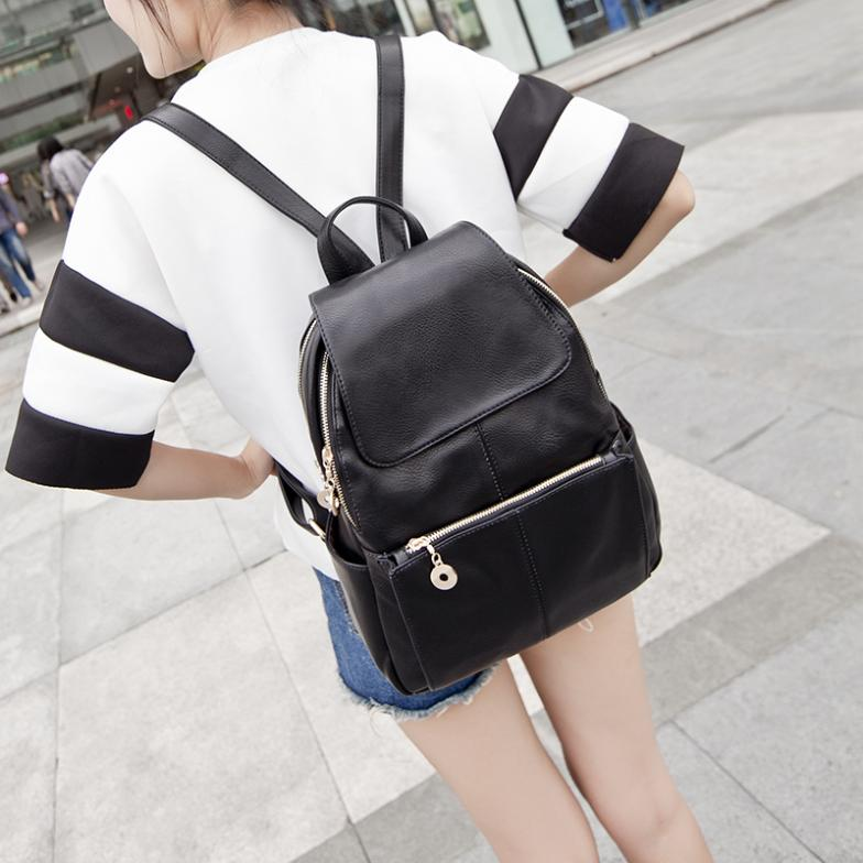Aliexpress.com : Buy Black backpack femal student PU bags women ...