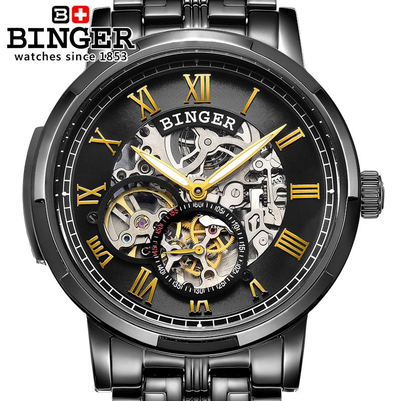 Switzerland watches men luxury brand Wristwatches BINGER luminous Automatic self-wind full stainless steel Waterproof B5036-5 girls aloud tangled up live from the o2 2008 blu ray