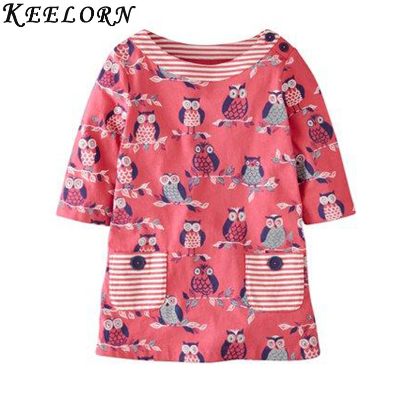 Keelorn Girls Dress 2017 New Autumn Girls Clothes O-neck Long Sleeve Dresses Owl Printing Striped Kids Dress for 2-7Y brand girl dress 2017 new winter fashipn printing dresses for girls solid color long sleeve kids clothes girls 4477w