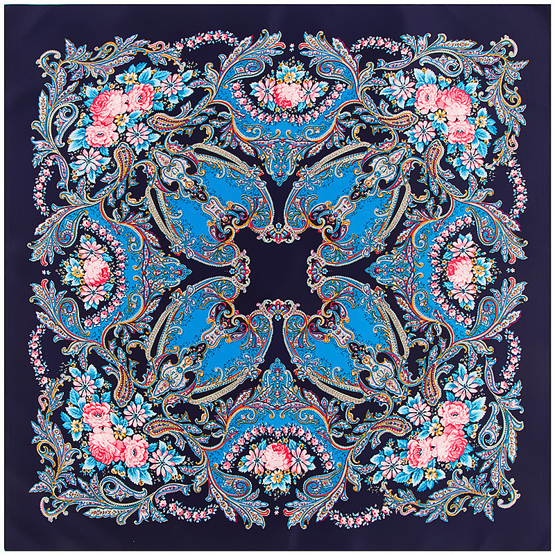 POBING 100% Silk   Scarf   Women Square   Scarves     Wraps   2017 National Floral Print Neckerchief Female Foulard Silk Hijab Lady Bufandas