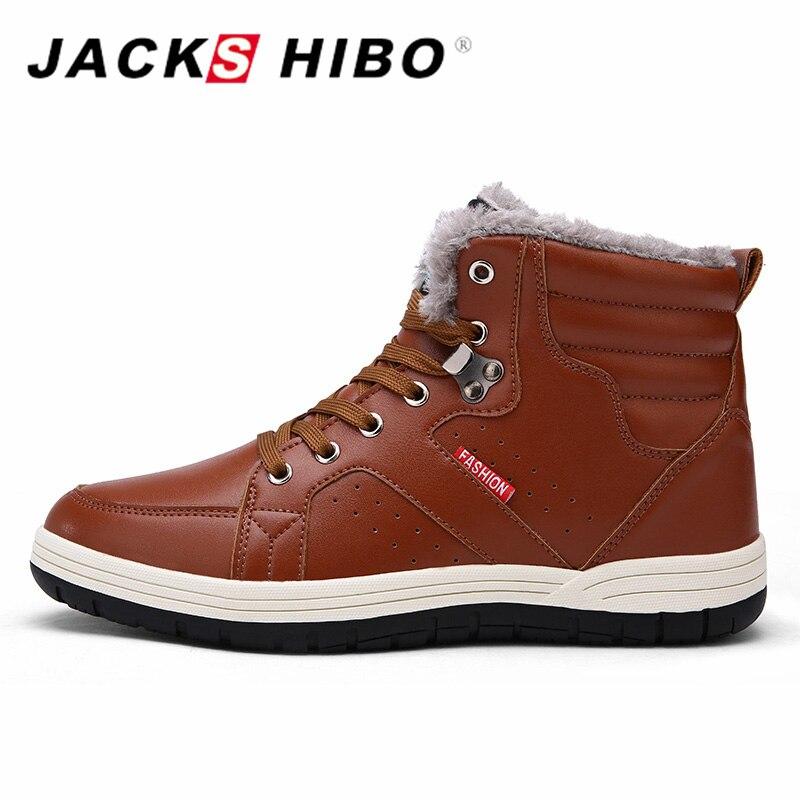 Jackshibo Uomo Boots Winter Shoes Uomo Big Basic Large Sizes Uomo Basic Big Snow Boots Pu Lea 46eb62