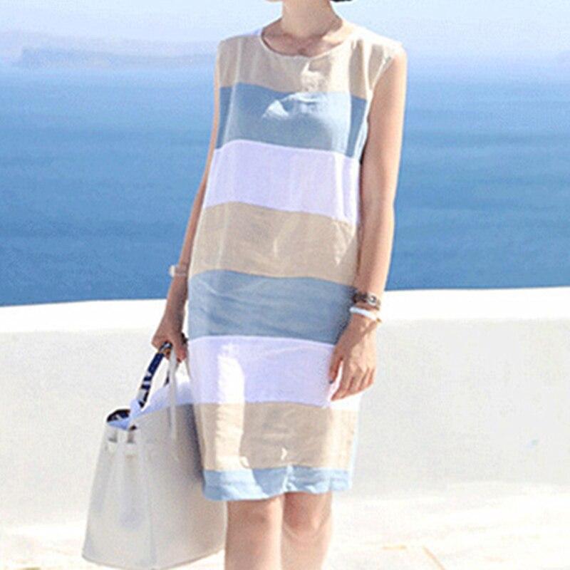 2018 Cotton Linen Striped Summer dress Women basic Sleeveless dresses Boho Midi beach Sundress Casual womens clothing