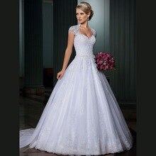 Dubai Princess Ball Gown Beaded Lace Wedding Dresses 2016 with Detachable vestidos de noivas Plus Size Puffy Bridal Gowns CW55