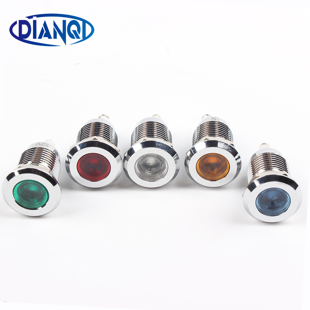 Free Shipping LED Metal Indicator Light 12mm Waterproof Signal Lamp POWE LIGHT Pin Connect Red Yellow Blue White 12ZSD.PY.L