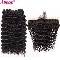 Brazilian Deep Wave Bundles Remy Lace Frontal Closure With Bundles Human Hair 3 Bundles With Closure