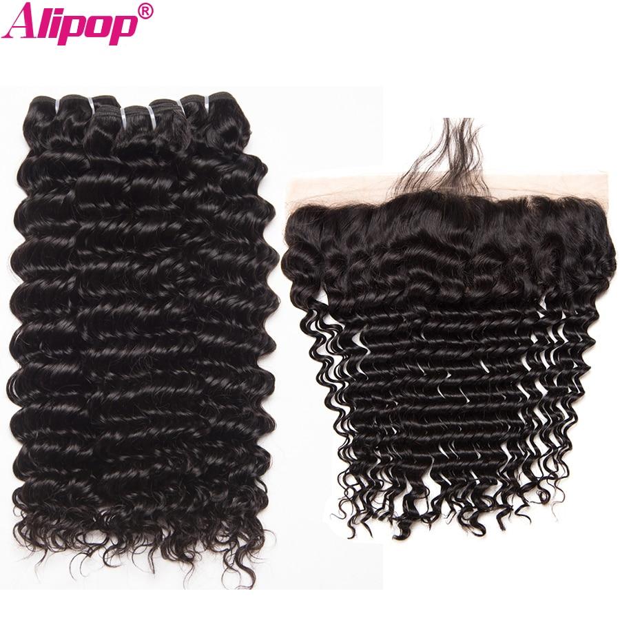 Brazilian Deep Wave Bundles Remy Lace Frontal Closure With Bundles Human Hair 3 Bundles With Closure Alipop 4x13 Lace Frontal