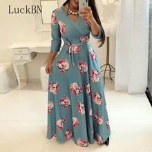 Casual Plus Size 5XL Dress Women Spring Autumn Print Robe Party Vestidos Female Pullover V-Neck Long Bandage Maxi Dresses