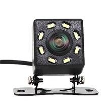 8 LED araba ışıkları Arka Görüş Kamerası Gece Görüş 170 Derece Su Geçirmez araç içi kamera Otomatik Ters Park araç kamerası