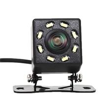 8 luces LED vista trasera de coche cámara de visión nocturna 170 grados impermeable cámara para salpicadero de coche Auto cámara de aparcamiento de marcha atrás del vehículo