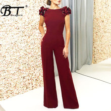 Beateen 2018 New Fashion Wine Red Backless Straight Jumpsuits Floral Sexy Club Night Party Fulll Length(China)